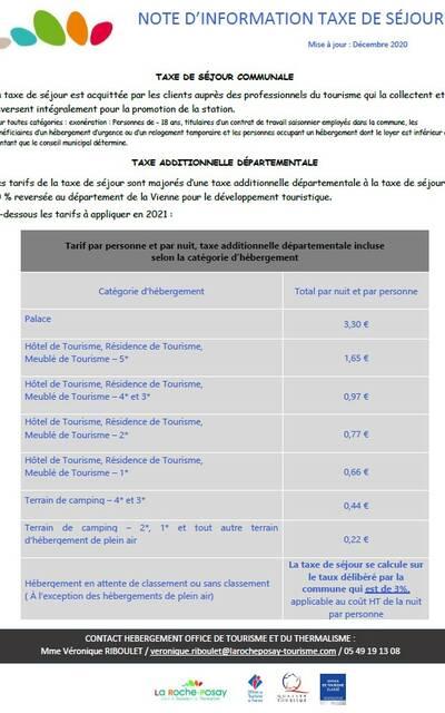 Tarifs taxe de séjour La Roche-Posay 2021